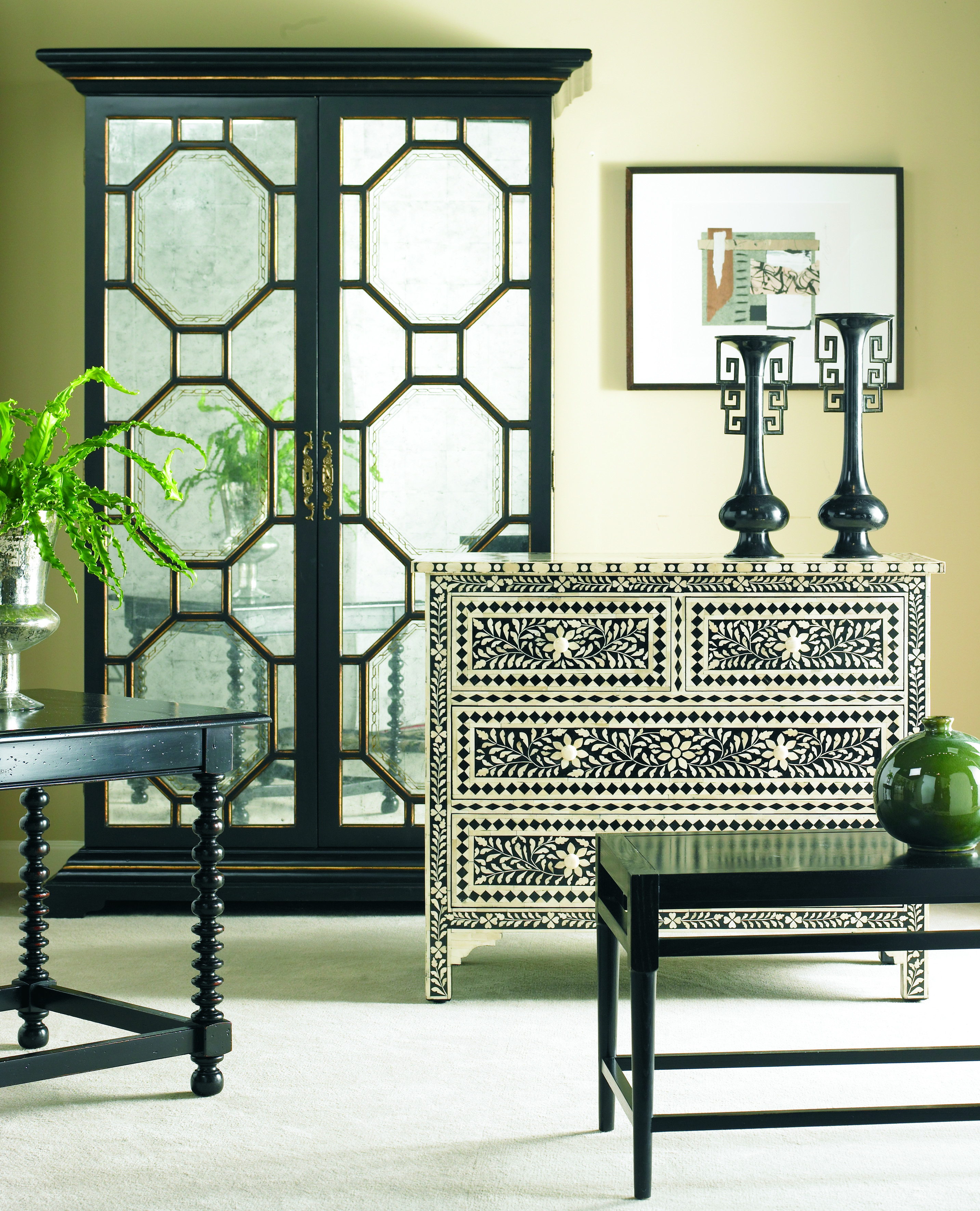 Entertaining in style is easy when you have a mirrored bar cabinet like this! - McNabb & Risley