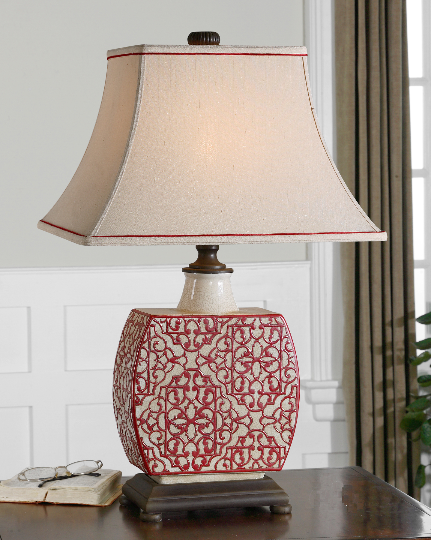 Mcnabb risley 3564 mcnabb risley everything about this lamp is perfection i love the porcelain fretwork design the red piping on the linen lamp shade and the classic wood base aloadofball Choice Image